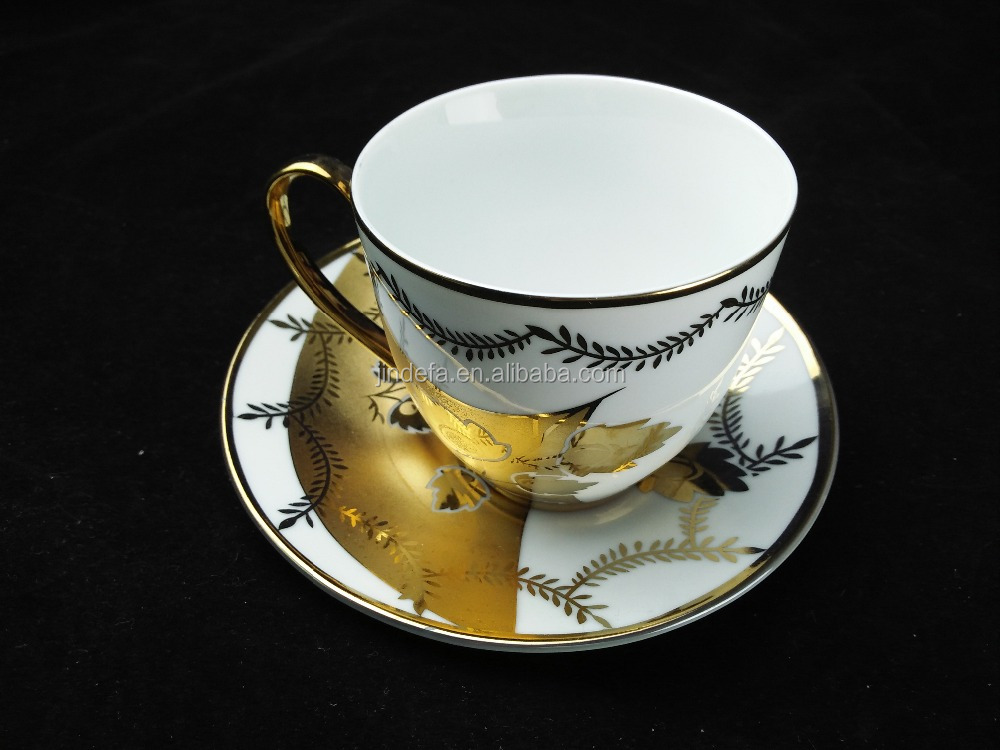 Fine china electric porcelain tea cup and saucer set golden printing cup and saucer cheap