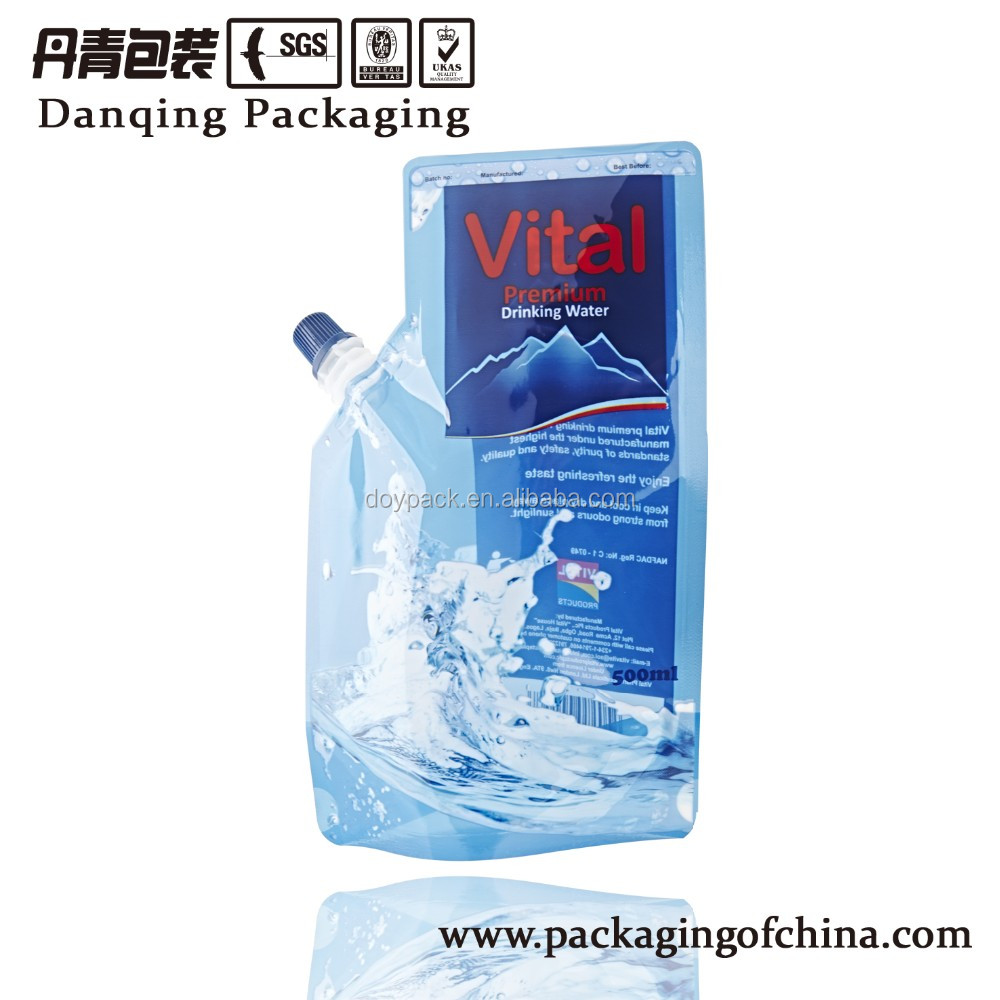 500ML Vital drinking water packaging bags , plastic standing sachet with corner spoutY0618