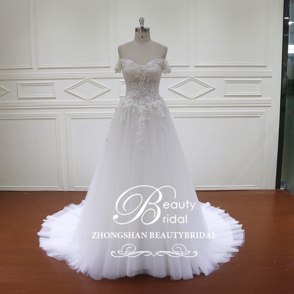 HD016 halter aline applique wedding dress real sample muslin wedding dress