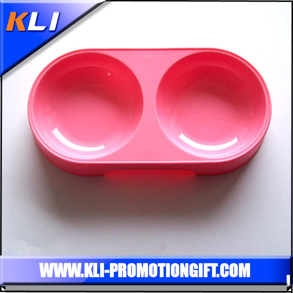 Made in China plastic pet bowl double round shape food bowl