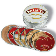 Gift Round Bar Metal Tin Cork Coaster Set