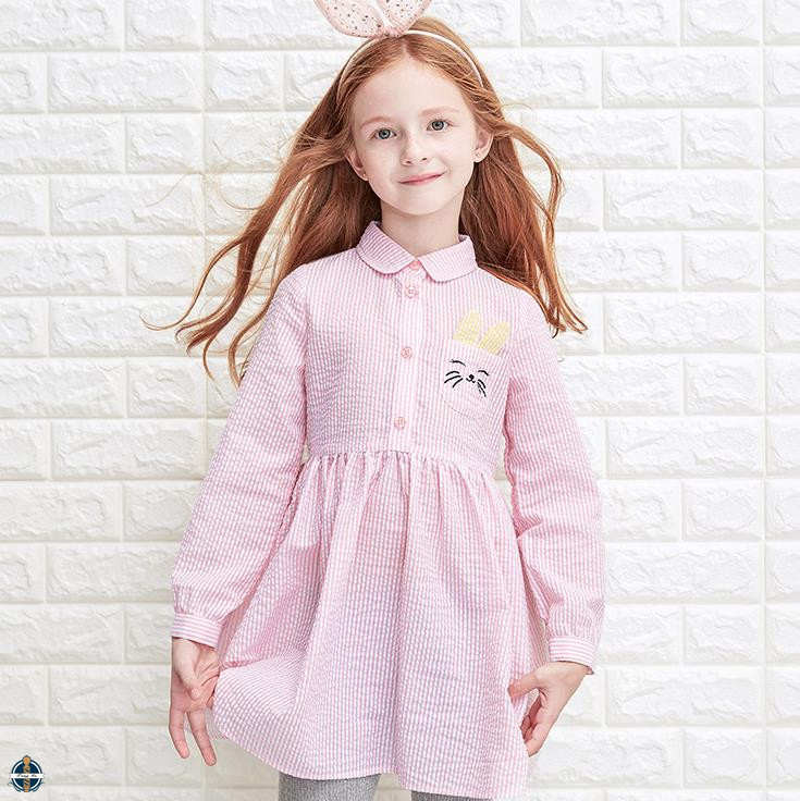 T-GD021 Children Girl Frock Designs Fancy Long Sleeve Striped Latest Shirt Dress Designs