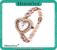 Hermosa Jewelry FREE SHIPPING Heart Case 925 Silver Amethyst Bracelet Jewelry Watch 7''