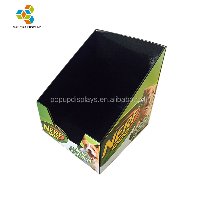 <strong>Retail</strong> Store Corrugated Cardboard PDQ Dog Treats Counter Display Stand