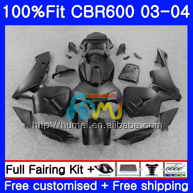Injection For HONDA CBR600 RR 03-04 CBR600RR F5 03 04 Matte black 11HM11 CBR 600RR F5 CBR600F5 CBR 600 RR 2003 2004 Fairing kit
