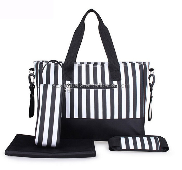 Alibaba China Suppliers Professional Stripe Printing Baby Diaper Bag with Mummy Bags