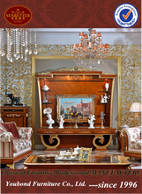 0038 luxury antique tv lcd wooden cabinet designs for living room TV cabinet with showcase