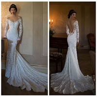 sex long sleeve full lace mermaid fish style wedding dress