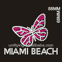 Miami butterfly t shirt rhinestone designs