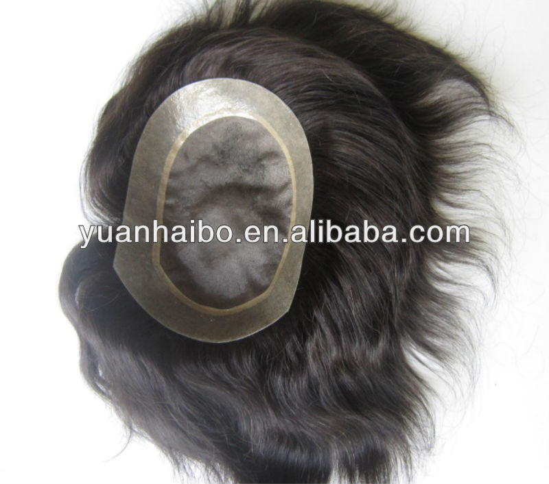 factory wholesale cheap 100% human hair super thin skin mens toupee mens hair replacement systems