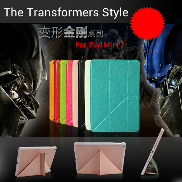 For ipad mini Leather case The Transformers Style case 8 Folios ORE-IPM005 Factory outlet stander with wake and sleep