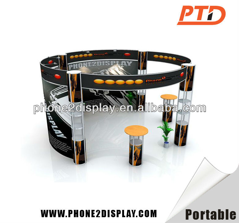 portable and quick set up exhibition booth stall design with spiral tower stands and fabric banner wall easy set up recycling