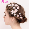 Wedding Bridesmaid Princess Prom Dress Pearl Decoration Romantic Pink Flower Side Hair Clip Hair Accessories Floral Hairgrip Set