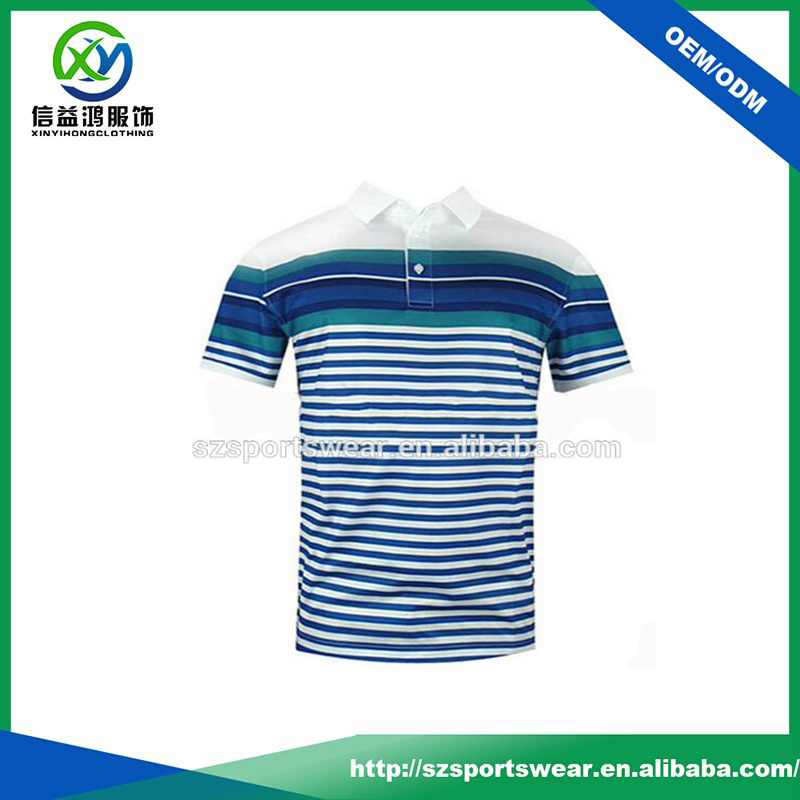 High quality OEM full sublimated printing stripes moisture wicking golf polo t-shirt