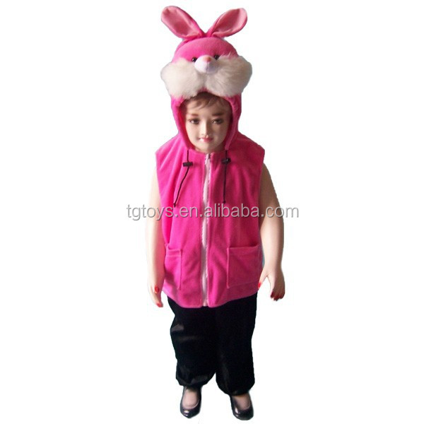 Factory supplier warm Animal style plush pink rabbit vest for girls