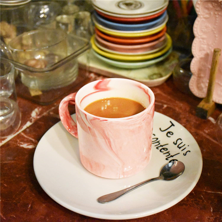 New design fancy pink color vintage italain ceramic coffee tea  marble mug for restaurant