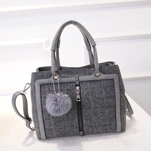 fashion style woolen cloth woven lady hand bag, tote bag