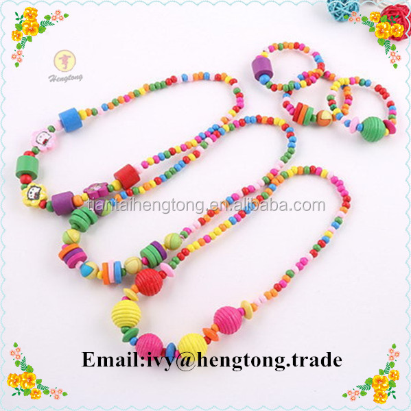 wholesale colorful wood beads children's necklace & bracelet, safety wood beaded jewelry sets for kids