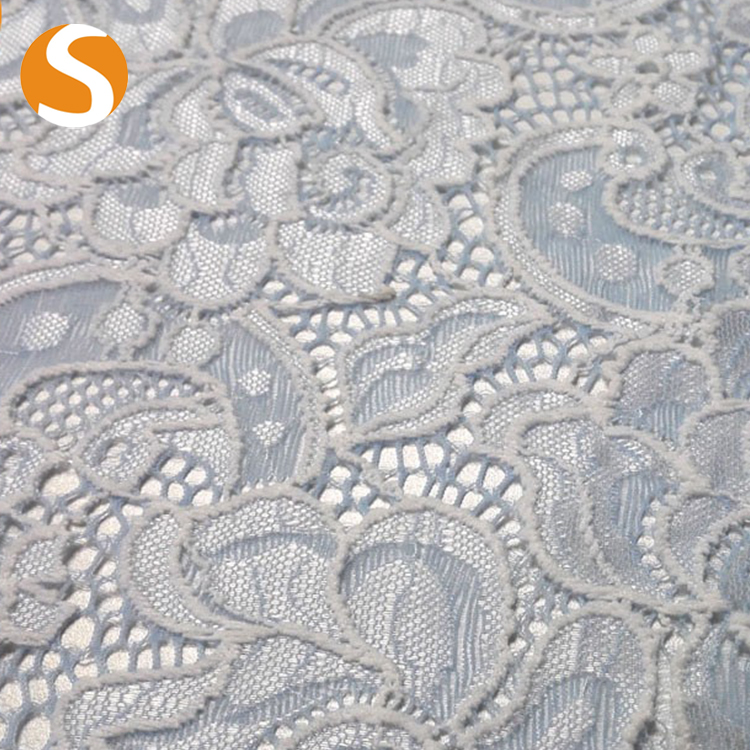 2017 hot textile Beaded lace hot textile lace fabric with rhinestone