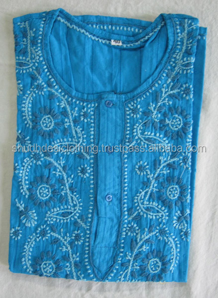 Buy Various High Quality Indian Lucknow Chikan Embroidered Kurti , Top Tunics