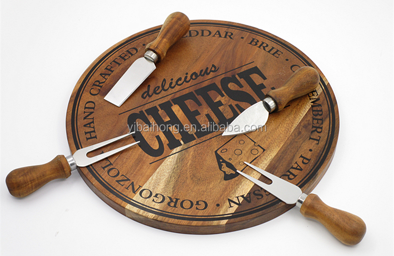 Personalised Wooden Cheese Board serving tray with Cheese Knife Set