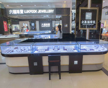 Shopping mall used wooden jewelry display showcase for jewelry kiosk design