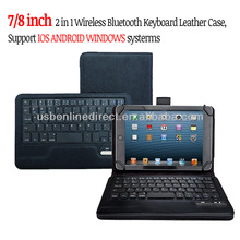 for ipad samsung google 7 8 inch 2-in-1 Universal Wireless Bluetooth Keyboard Leather Case,Support IOS ANDROID WINDOWS Systems