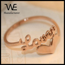 Couples LOVE Letters Rose Gold Titanium Steel Fashion Cuff Index Finger Tail Ring