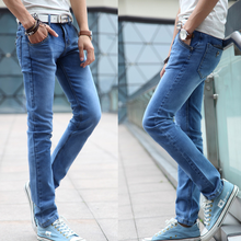 2017 New Spring And Autumn fashion design light blue fashion man jeans man pencil jeans