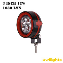 OWLLIGHTS 12W LED driving Light Super Bright Round with red LED Work Light 3inch car Auto parts Headlight for Truck Trailer
