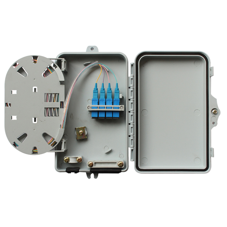 ABS Material 4 Core Fiber Optic Termination Box Mini Wall Mount ODF