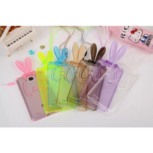 Rabbit Series Cute Bunny Ear Protective Crystal TPU Soft Flip Stand Smart Cover Case for huawei ascend mate 7