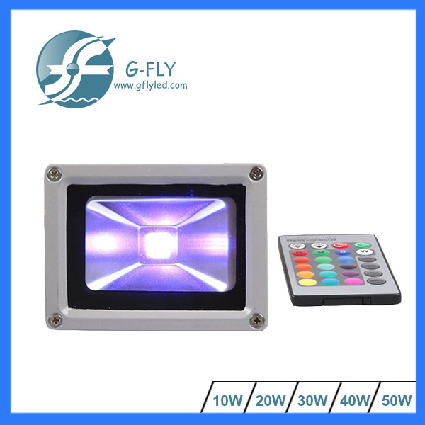Outdoor remote control 10w 20w 30w 50w rf/dmx control wifi led rgb flood light ,Meawell driver