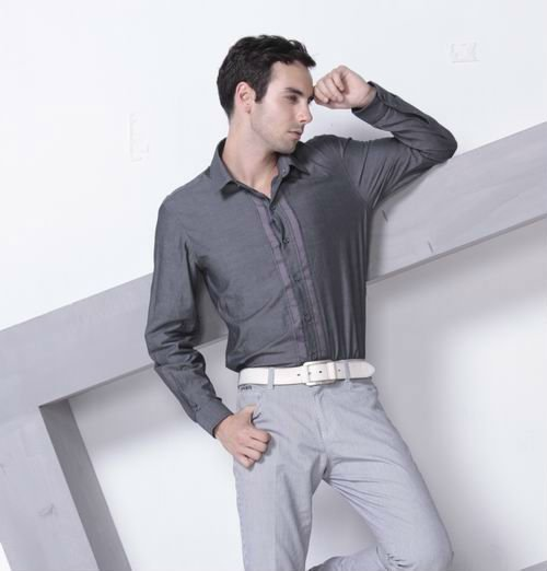 2015 fashion men's cotton long sleeve business casual shirts