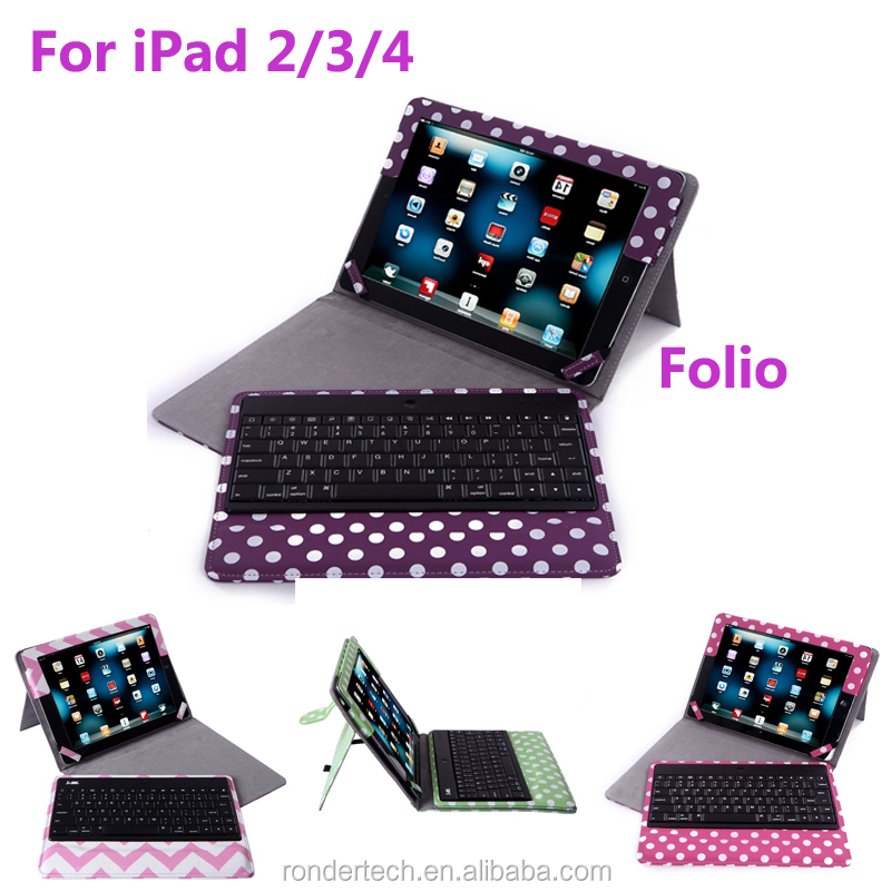 Manufacturer china Fashionable Folding Folio Leather Bluetooth Keyboard Case with polka dot for iPad 2/3/4