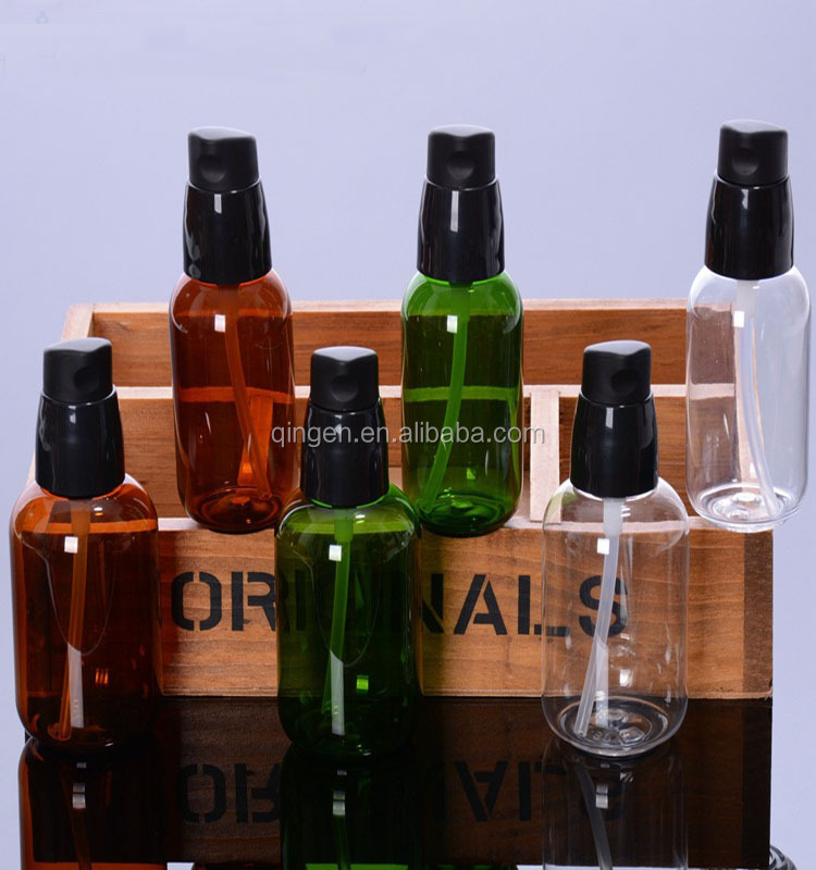 High quality PET plastic face spray bottles colored cosmetic lotion spray bottles