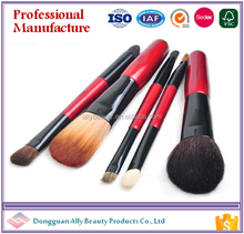 2017 best selling cosmetic makeup 5pcs/set accessories fashion angled foundation brush makeup brush gold red
