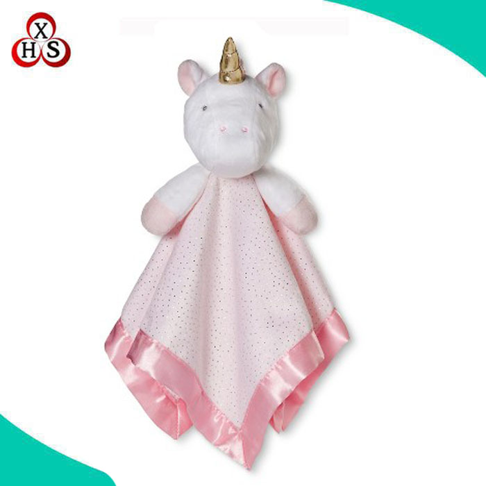 custom animal head plush unicorn baby security blanket doudou blanket
