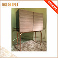 Vingtage Design Fashional Leather-Upholstered-Door Dressing Commode and Jewel Storage Cabinet with Gilded Brass Base