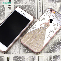 Cute Girl Mobile Phone Back Cover Glitter Mirror TPU Case For iPhone 7