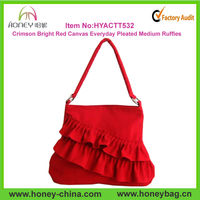 Crimson Bright Red Canvas Everyday Pleated Medium Ruffles Skirt Purses