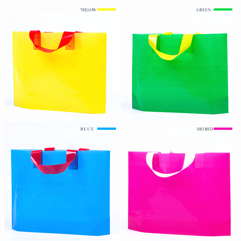 Glossy Multi Color Plastic Merchandise Packaging Bag Women Shopping Hand Bag Gift Bags For Wholesale