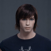 New fashion in Europe and America male hair Natural Dark Brown Color Men's Short Hair Wig