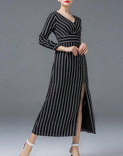 OEM Latest Formal Dresses Long Sleeve Stripe Women High Fashion Dress Elegant Slant Split Casual Maxi Dresses