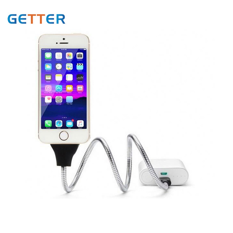 Lowest MOQ flexible stand lazy bracket car holder usb charger type C charging data cable for IOS android
