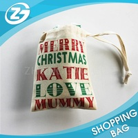 Customize Large Size Cotton Canvas Santa Sack Drawstring Christmas Gift Bag