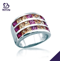 Personality yellow and purple cz fashion maple leaf silver ring