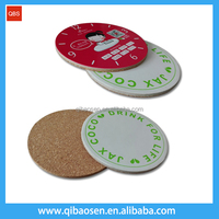 Custom logo printed cork coaster, promotion gift paper coaster, mdf wooden coaster mat and cup coaster mat pad factory supply