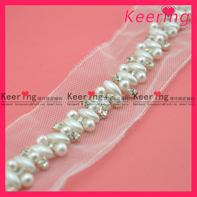 Fashion new tulle beaded ivory pearl garment trim