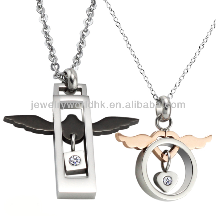 Fashion angel wings with crystal pendant stainless steel couple necklace valentines day gifts